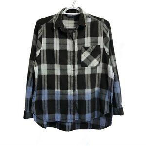 ❤️3/$30 Zara dip dyed plaid shirt. S